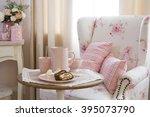 peace of tasty banana cake on ... | Shutterstock . vector #395073790