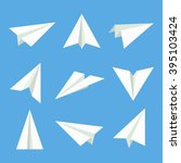 paper plane vector set  in flat ...