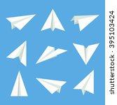 handmade paper plane vector set ... | Shutterstock .eps vector #395103424