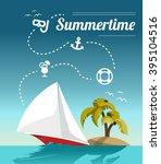 sailing  summer background | Shutterstock .eps vector #395104516