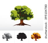 green or monochrome oak tree | Shutterstock .eps vector #395104780
