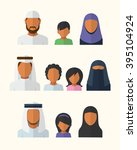 arabic families avatars in flat ... | Shutterstock .eps vector #395104924