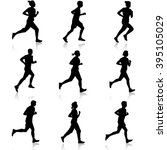 set of silhouettes. runners on... | Shutterstock .eps vector #395105029