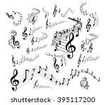 musical staves on white | Shutterstock . vector #395117200