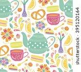 "vector seamless pattern ""tea... | Shutterstock .eps vector #395120164"