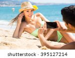 beautiful tourist woman has... | Shutterstock . vector #395127214