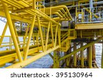 walkway or bridge on offshore... | Shutterstock . vector #395130964