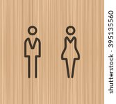wc   toilet door plate. men and ... | Shutterstock .eps vector #395135560