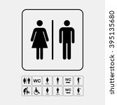 wc   toilet icons set. men and... | Shutterstock .eps vector #395135680
