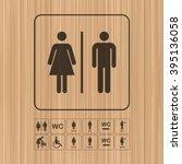 wc   toilet door wall plate.... | Shutterstock .eps vector #395136058
