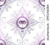 sacred geometry seamless... | Shutterstock .eps vector #395146084