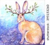 horned rabbit colored poster.... | Shutterstock . vector #395153260