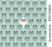 cute fur seals seamless pattern.... | Shutterstock .eps vector #395155804