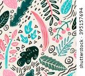 vector floral seamless pattern... | Shutterstock .eps vector #395157694