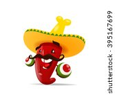 chili pepper with maracas | Shutterstock .eps vector #395167699
