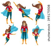 longhaired superwoman actions... | Shutterstock .eps vector #395175508