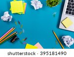 office table desk with set of... | Shutterstock . vector #395181490
