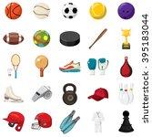 sport icons set in cartoon... | Shutterstock .eps vector #395183044