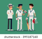 cool vector cricket players and ... | Shutterstock .eps vector #395187160