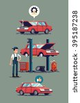 cool set of car repair shop and ... | Shutterstock .eps vector #395187238
