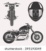 vintage vector motorcycle set... | Shutterstock .eps vector #395193049