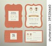 art deco cartoon couple wedding ... | Shutterstock .eps vector #395206660