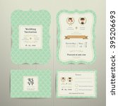 art deco cartoon couple wedding ... | Shutterstock .eps vector #395206693