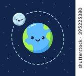 cute cartoon earth with moon.... | Shutterstock .eps vector #395225380