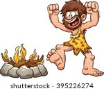 cartoon caveman discovering... | Shutterstock .eps vector #395226274