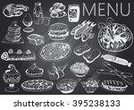 hand drawn chalkboard menu   Shutterstock .eps vector #395238133