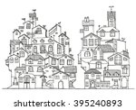 hand drawn doodle houses in...