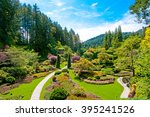 lawn and flower beds in the... | Shutterstock . vector #395241526