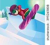 snowboarder jumping in the... | Shutterstock .eps vector #395265808