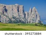 sciliar schlern mountain massif ...   Shutterstock . vector #395273884