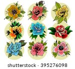 roses flowers set in... | Shutterstock .eps vector #395276098