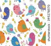 Cute Birds Seamless Pattern....