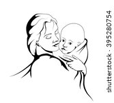 silhouette of a mother and her... | Shutterstock .eps vector #395280754