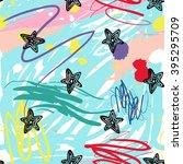 modern kids seamless pattern... | Shutterstock .eps vector #395295709