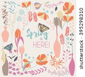 Floral Spring Card Design  With ...
