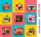set of flat shop building... | Shutterstock .eps vector #395301766