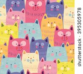 cute cats colorful seamless... | Shutterstock .eps vector #395305978