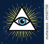 vector symbol   all seeing eye. ... | Shutterstock .eps vector #395307700