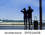 silhouette of a couple holding... | Shutterstock . vector #395316658