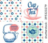 tea party set with seamless... | Shutterstock .eps vector #395323279