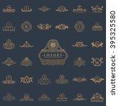 luxury vintage crest logo set.... | Shutterstock .eps vector #395325580