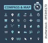 compass map icons  | Shutterstock .eps vector #395345173