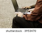 two businessmen with computer... | Shutterstock . vector #3953470