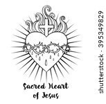 sacred heart of jesus. vector... | Shutterstock .eps vector #395349829