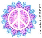 peace symbol over decorative... | Shutterstock .eps vector #395349970