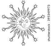 sun moon symbols as a face... | Shutterstock .eps vector #395349973